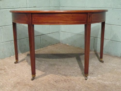 Antique regency mahogany demi lune table with secret for Table demi lune fer forge