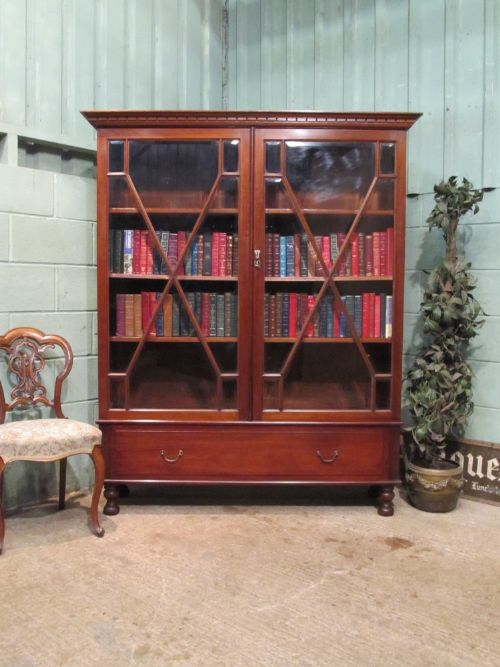 antique late victorian astragal glazed mahogany bookcase c1890