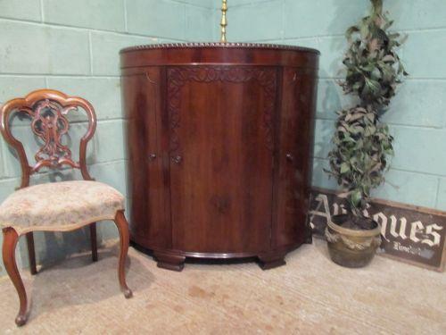 antique edwardian mahogany barrel fronted corner cupboard c1900