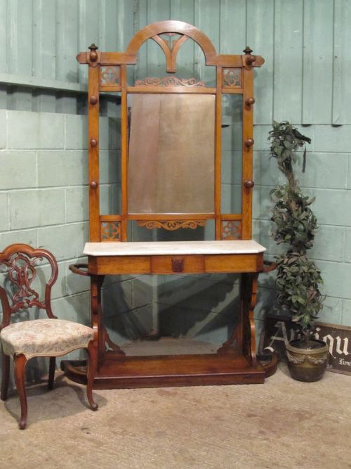 antique victorian oak and marble hallstand c1890