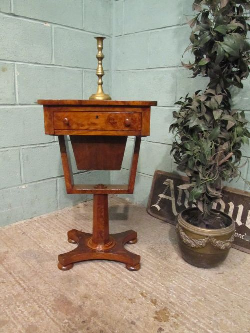 antique william 1v burr walnut work sewing table c1830