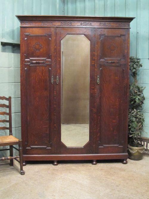antique edwardian oak triple wardrobe c1900