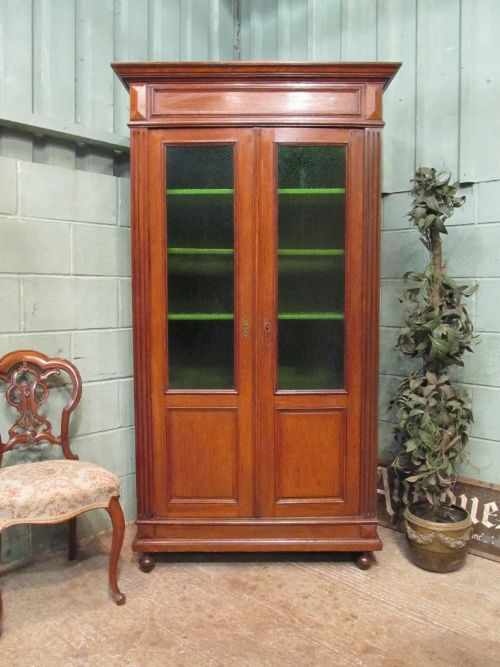 antique 19th century french oak cupboard bookcase with original green glass c1880