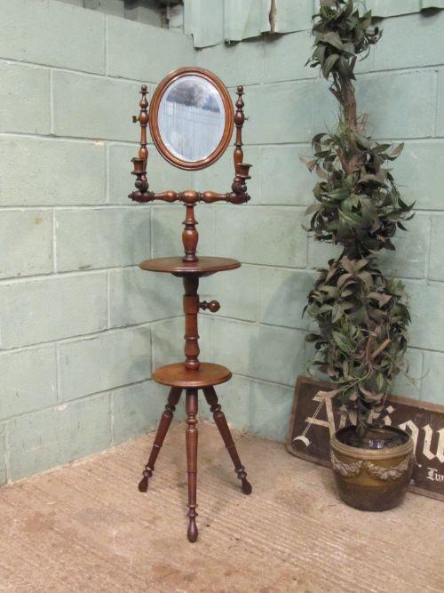 antique edwardian oak gents shaving mirror stand c1900