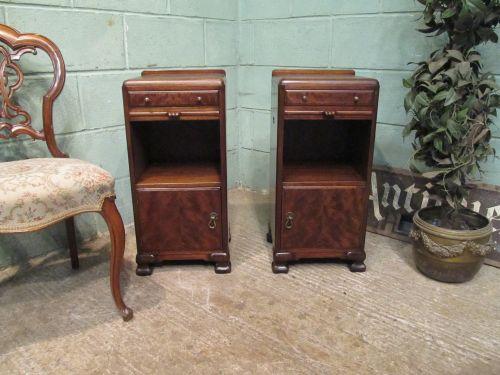 pair art deco mahogany bedside cabinets c1920