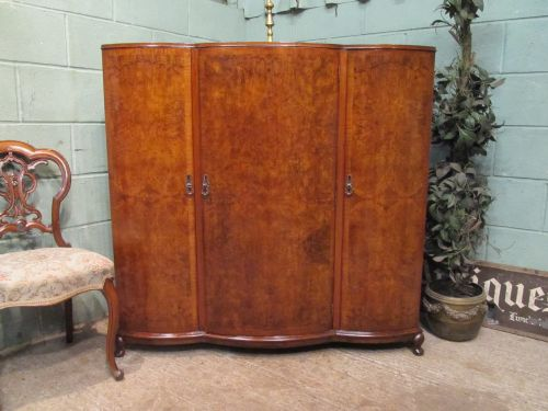 burr walnut queen anne serpentine cupboard c1920