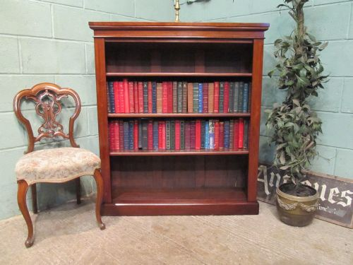 antique victorian mahogany open bookcase c1880