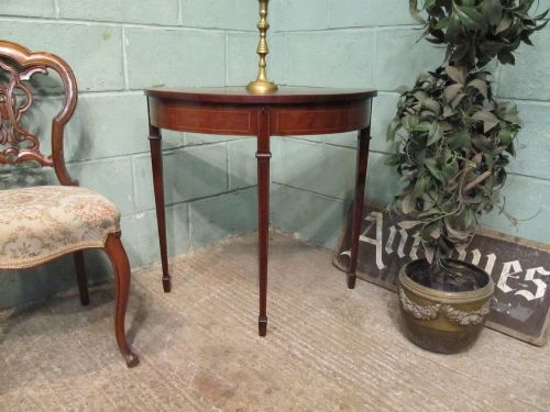Antique edwardian mahogany demi lune silver table c1900 for Table demi lune fer forge