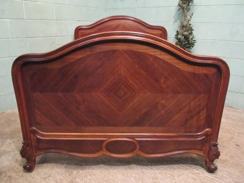 antique french rosewood serpentine shaped double bed c1890