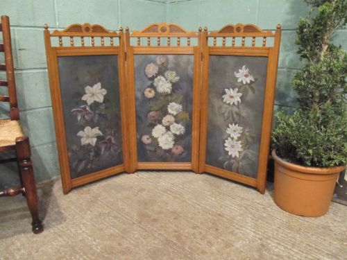 antique edwardian golden oak painted trifold fire screen c1900