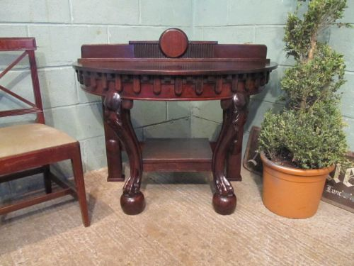 Antique victorian mahogany demi lune table c1880 323936 for Table demi lune fer forge