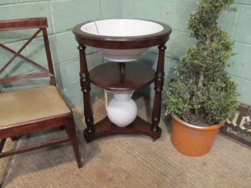 antique victorian mahogany round washstand c1880