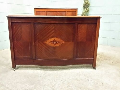 antique edwardian mahogany inlaid parquetry double bed c1900