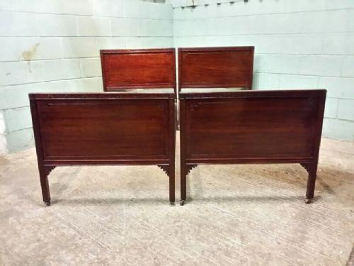 antique pair edwardian mahogany single beds c1900