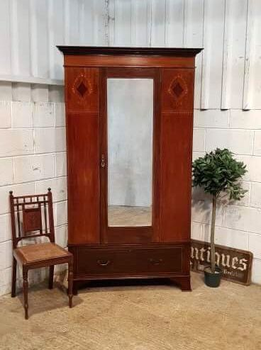 antique art nouveau mahogany single wardrobe c1900