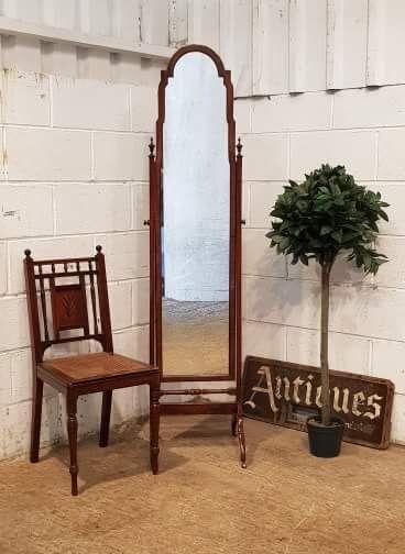 antique full length burr walnut mahogany cheval mirror c1920