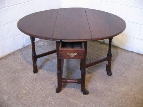 antique georgian solid oak plank top gate leg table c1760