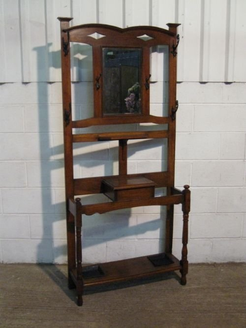 lovely antique solid oak arts crafts hall stand c1890