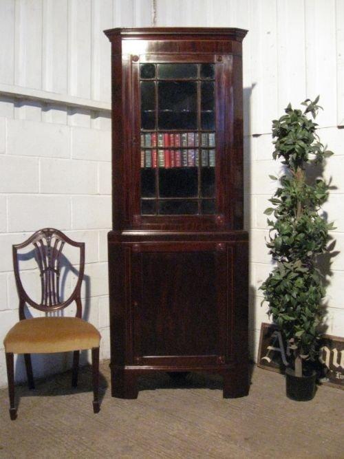 antique regency mahogany inlaid full height glazed corner cabinet