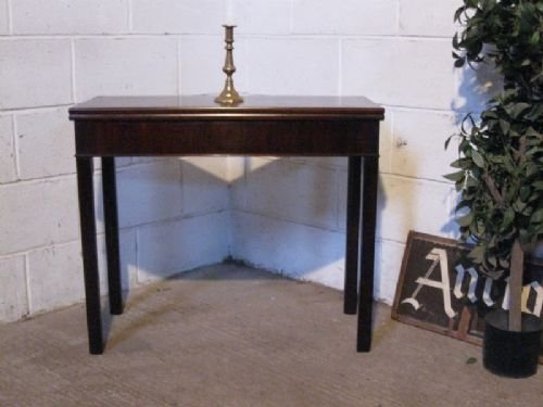 antique georgian mahogany fold over tea table c1780