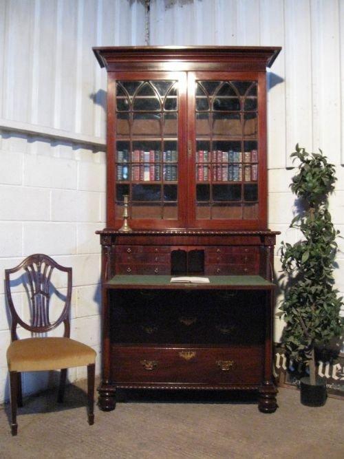 gorgeous william 1v mahogany secretaire bookcase bureau c1820 wdb590257