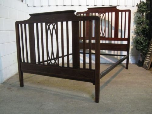 antique edwardian quality mahogany double bed stead c1900