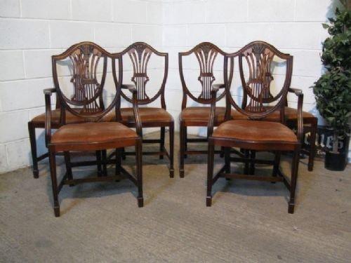 set six antique edwardian sheraton revival mahogany shield back dining  chairs c1900 - Set Six Antique Edwardian Sheraton Revival Mahogany Shield Back