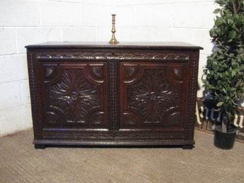 antique early georgian carved country oak coffer c1760