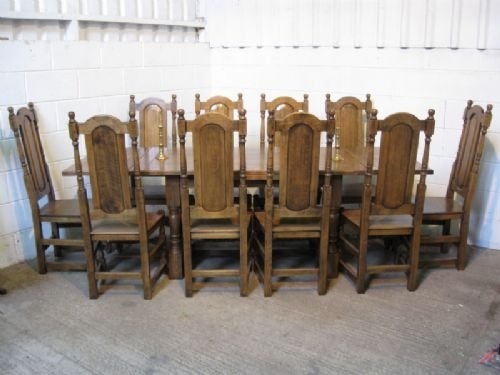 Solid oak jacobean style 10 seat extending dining table for 10 seater table and chairs