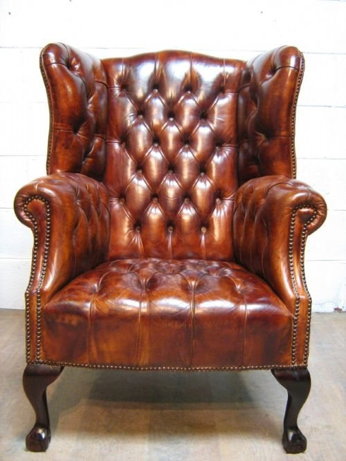 Superieur Superb Georgian Style Tan Leather Hide Full Button Down Chesterfield Wing  Chair