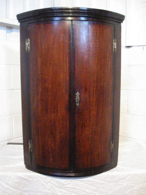 antique georgian oak mahogany barell fronted corner cabinet c1780