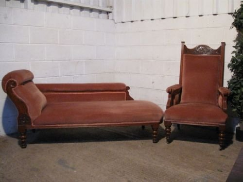 lovely antique victorian art nouveau oak chaise longue sofa and matching salon chair c1890. Black Bedroom Furniture Sets. Home Design Ideas