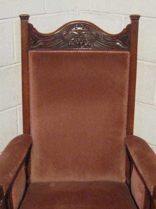 Lovely antique victorian art nouveau oak chaise longue for Art nouveau chaise longue