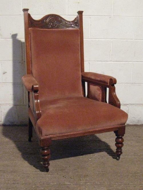 Lovely antique victorian art nouveau oak chaise longue for Art nouveau chaise