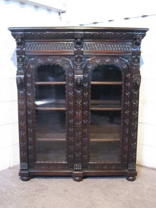 stunning antique victorian gothic carved oak bookcase cabinet c1880