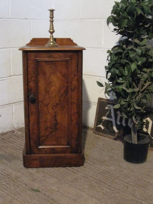 antique victorian walnut bedside cabinet pot cupboard c1880