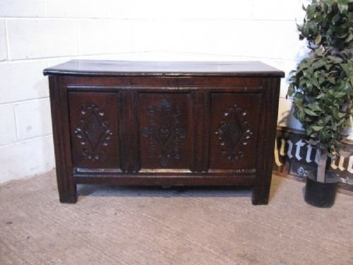 antique james 11 carved country oak coffer c1680