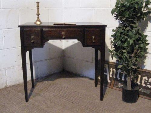 antique victorian country oak lowboy desk c1880