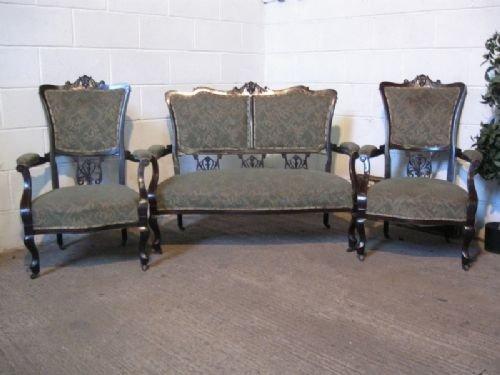 antique art nouveau mahogany salon suite c1890
