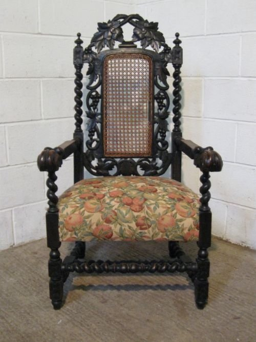 victorian gothic solid oak throne chair c1860
