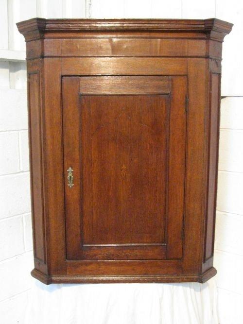 antique georgian solid oak corner cabinet c1780