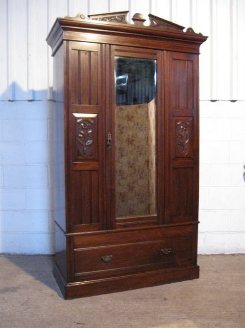 antique edwardian art nouveau mahogany wardrobe armoire c1890 43934. Black Bedroom Furniture Sets. Home Design Ideas