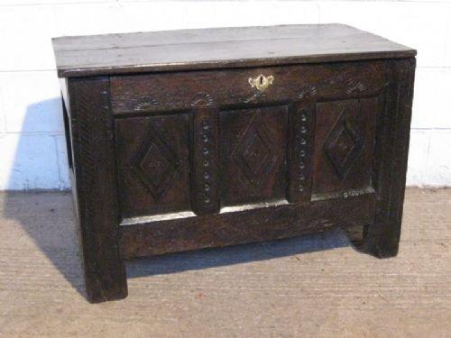 antique james 11 17th century restoration country oak coffer c1680