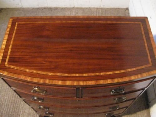 superb antique regency inlaid mahogany bow front chest of drawers c1800