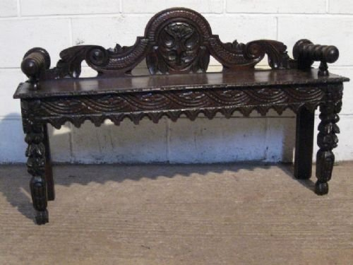 antique victorian gothic carved oak hall bench c1880