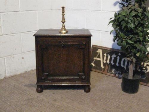antique edwardian oak perdonium log box c1900