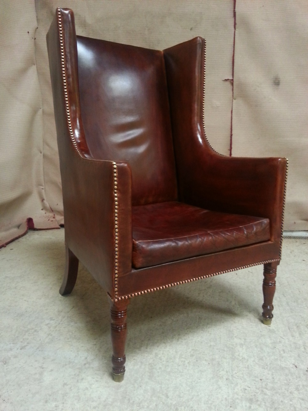 Antique Georgian Regency Full Leather Chesterfield Wing