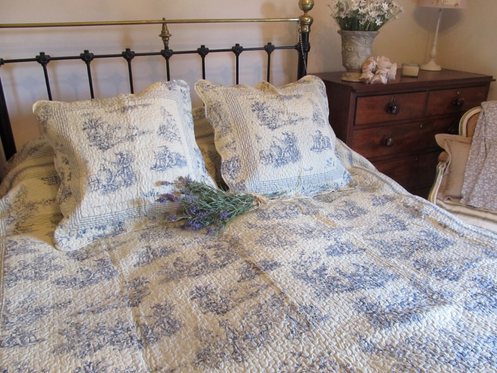 french reversible double king size bedspread throws in toile or french roses