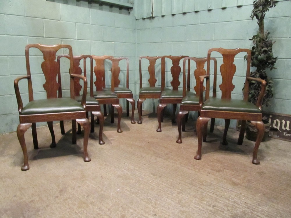 Antique Set Eight Edwardian Oak Queen Anne Style Dining Chairs C1900 235843