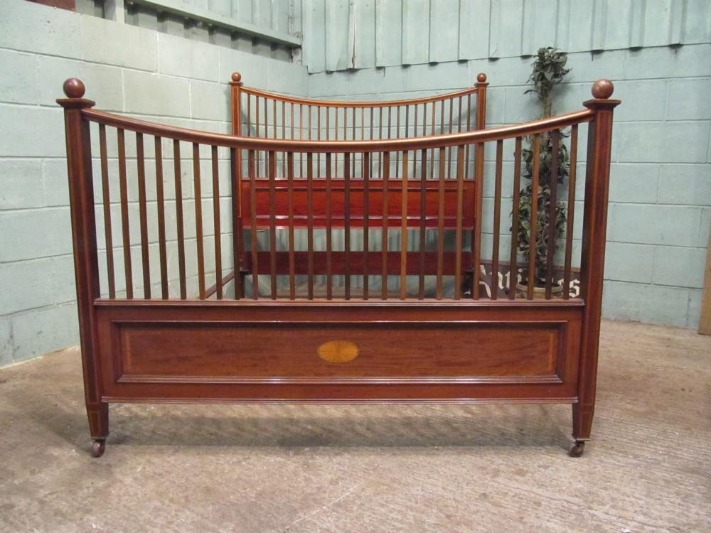 antique edwardian mahogany inlaid king size bed